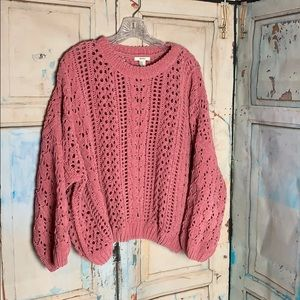 90's feel crop open knit soft sweater Forever 21